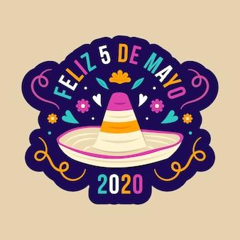 Sombrero mexicano creativo de diseño plano