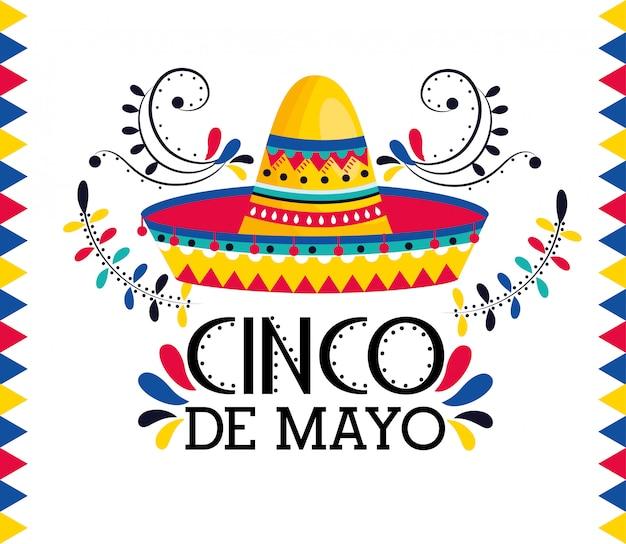 Sombrero mexicano con decoracion para celebracion de eventos.