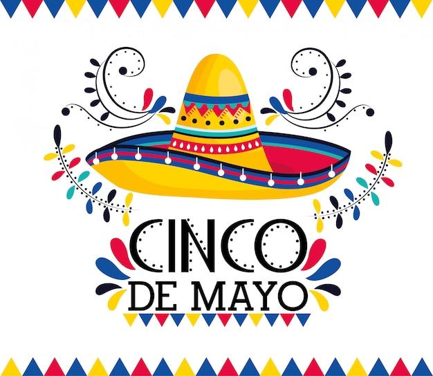 Sombrero mexicano con decoración para fiesta.