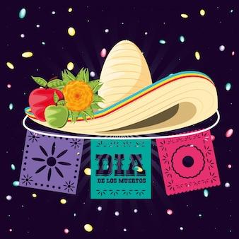 Sombrero mexicano del día de la muerte