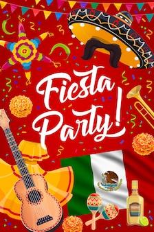 Sombrero mexicano, guitarra y maracas de fiesta fiesta.