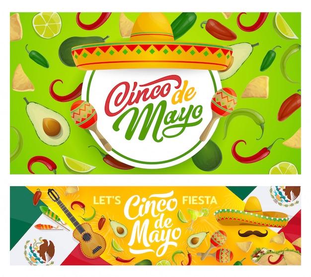 Sombrero mexicano, maracas y comida del cinco de mayo