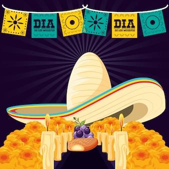 Sombrero mexicano de la muerte del día