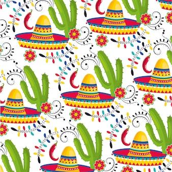 Sombrero mexicano con plantas de cactus y fondo de chiles