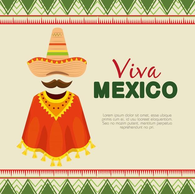 Sombrero mexicano con poncho y bigote para evento