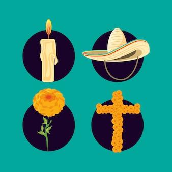 Sombrero mexicano con set de iconos