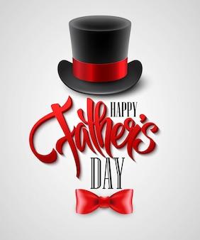 Sombrero negro aislado en blanco con texto feliz día del padre
