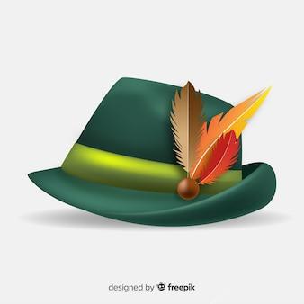 Sombrero de oktoberfest tradicional realista
