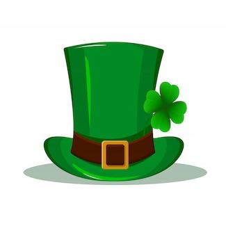 Sombrero de patricio. sombrero verde con trébol de cuatro hojas.