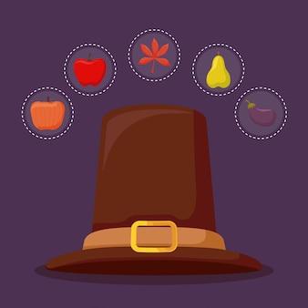 Sombrero de peregrino del día de acción de gracias con conjunto de iconos de otoño