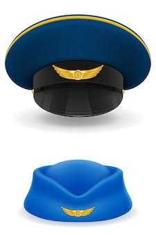 Sombrero de piloto y azafata para ilustración de aerolíneas de pasajeros aislado sobre fondo blanco.