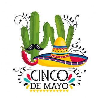 Sombrero con plantas de cactus y chiles al evento.