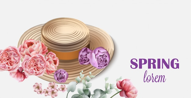 Sombrero de primavera con flores