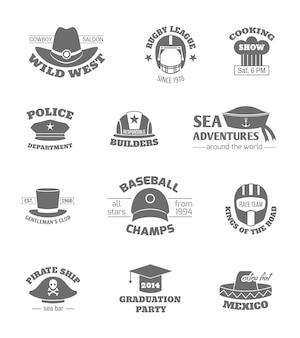 Sombrero profesiones sellos