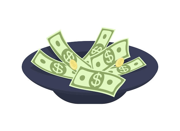 Sombrero para recolectar dinero objeto vectorial de color semi plano