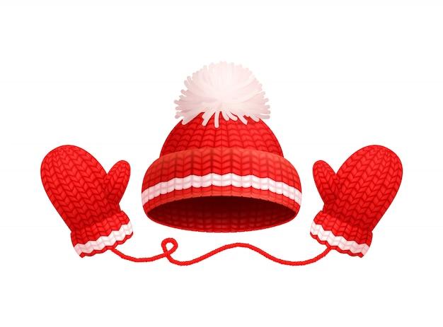 Sombrero rojo cálido de invierno, pompón blanco, guantes de punto