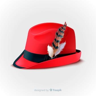 Sombrero rojo de oktoberfest realista