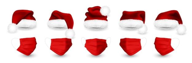 Sombrero rojo de santa claus y mascarilla médica para las vacaciones de navidad. detalles de malla degradada máscara médica y gorro de papá noel.