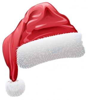Sombrero rojo de santa con esponjoso pelaje blanco