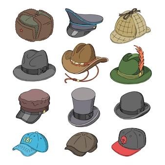 Sombrero, ropa de moda, sombreros o sombreros y accesorios masculinos para hombre ilustración conjunto de sombreros de vaquero o tocado mágico sobre fondo blanco.