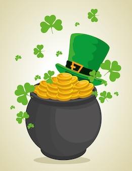 Sombrero de san patricio y caldero con monedas para celebración