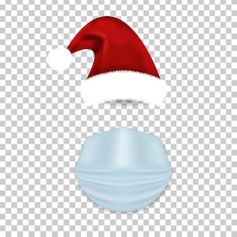Sombrero de santa claus aislado realista y máscara médica en el fondo transparente