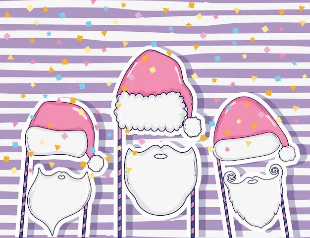 Sombrero de santa claus y traje de barba