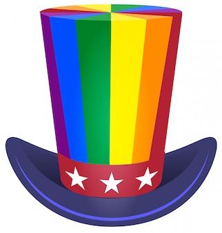 Sombrero tío sam cilindro arco iris colorante símbolo lgbt