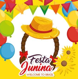 Sombrero y trenzas con flores de banners y globos sobre fondo amarillo ilustración vectorial