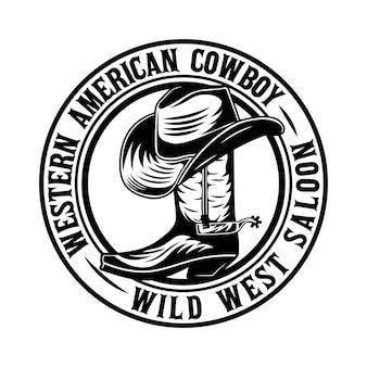 Sombrero de vaquero en la insignia de la bota del salvaje oeste