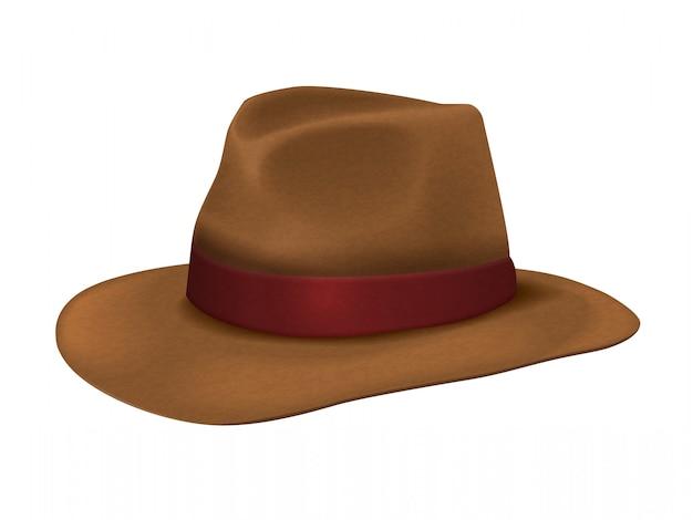 Sombrero de vaquero marrón realista
