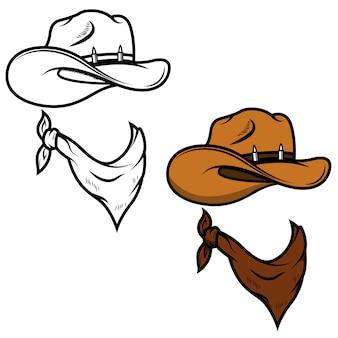 Sombrero de vaquero y pañuelo sobre fondo blanco. ilustración