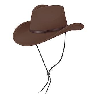 Sombrero de vaquero realista vector 3d