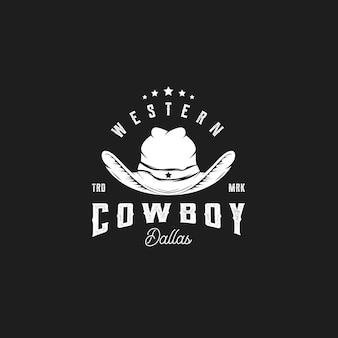 Sombrero de vaquero vintage logo icono de vector de diseño occidental