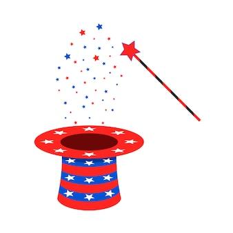 Sombrero y varita mágica. ilustración