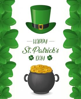 Sombrero verde y caldero con monedas, cartel del día de san patricio