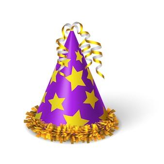 Sombrero violeta de cumpleaños con estrellas amarillas.