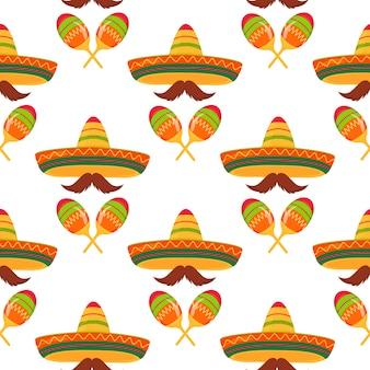 Sombreros, bigotes, maracas. patrón sin costuras decoración para el cinco de mayo. se puede utilizar como papel tapiz, papel de regalo, embalaje, textiles.