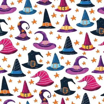 Sombreros de bruja de patrones sin fisuras sobre fondo blanco para papel tapiz, envoltura, embalaje.