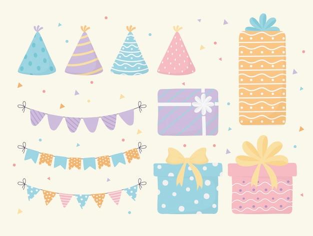 Sombreros cajas de regalo y banderines celebración evento decoración de fiesta