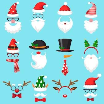 Sombreros de dibujos animados de navidad.