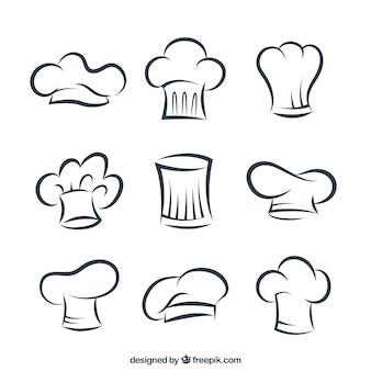 Sombreros esbozados de cocinero