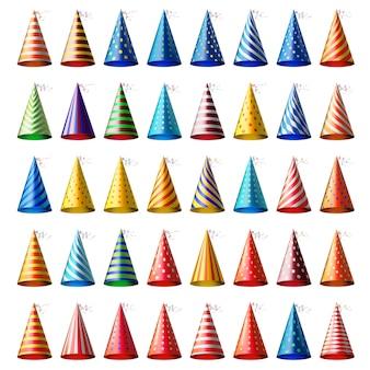 Sombreros festivos diferentes realistas con varios patrones