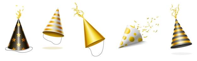 Sombreros de fiesta con rayas doradas y negras, lunares y estrellas para celebración de cumpleaños.