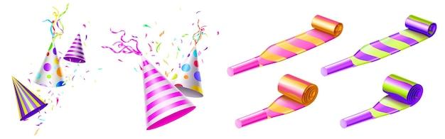Sombreros de fiesta y sopladores de cuerno con rayas de colores y puntos