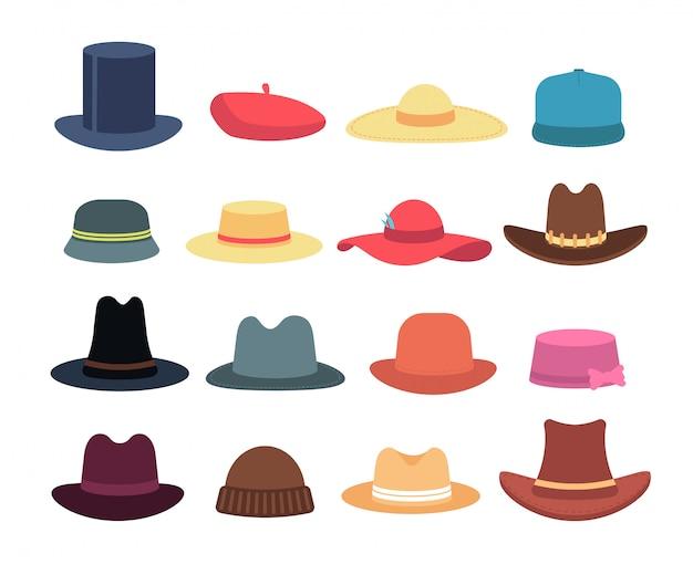 Sombreros de hombre y mujer. colección aislada de dibujos animados sombrero y gorro tocado