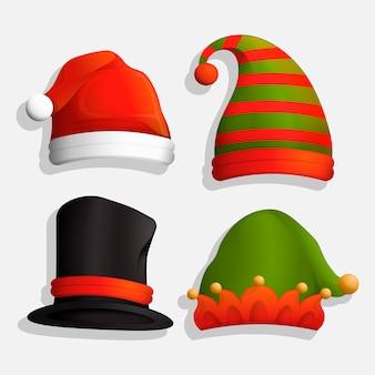 Sombreros navideños realistas para personajes