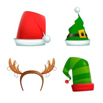 Sombreros de personajes navideños realistas