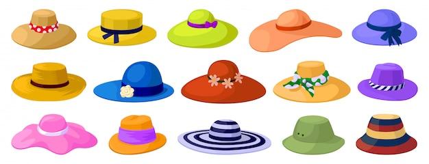 Sombreros de verano aislado de dibujos animados conjunto de iconos. gorra de sol de ilustración
