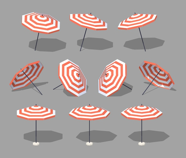 Sombrilla. ilustración de vector isométrica 3d lowpoly.
